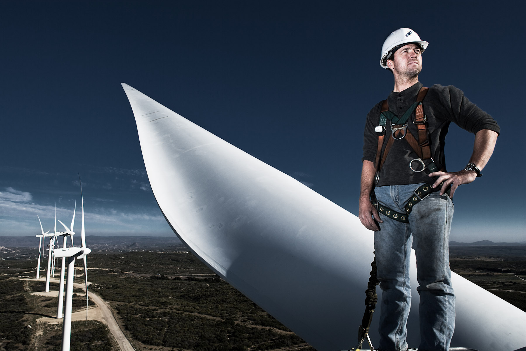 Windmill operator, environmental portrait, San Diego, California