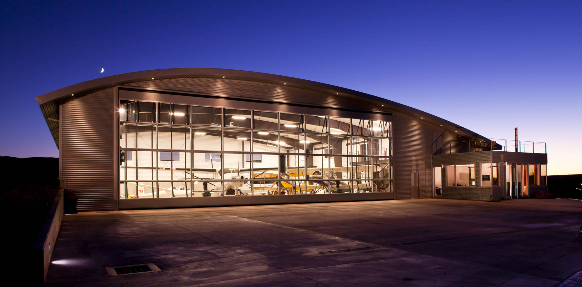 Commercial architecture photography, airplane hangar, Mancos, Colorado